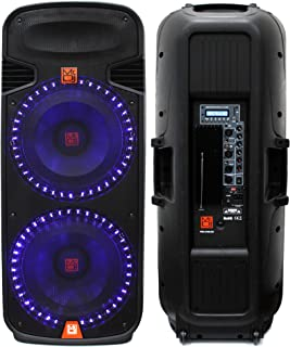 Mr. Dj PBX6100LED Dual 15-Inch 3-Way Portable Speaker with Built-In LED Light, Bluetooth, USB and FM Radio