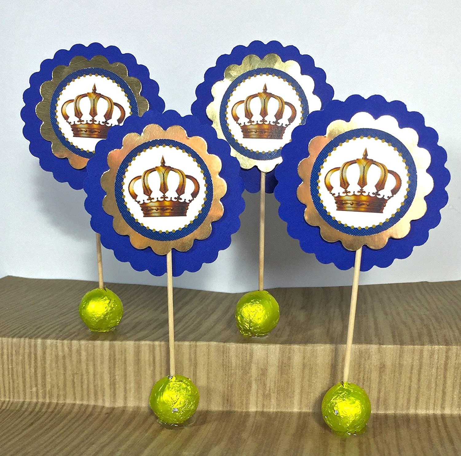 Set National Large special price !! products of 12 Royal Blue Crown Prince Toppers Cupcake