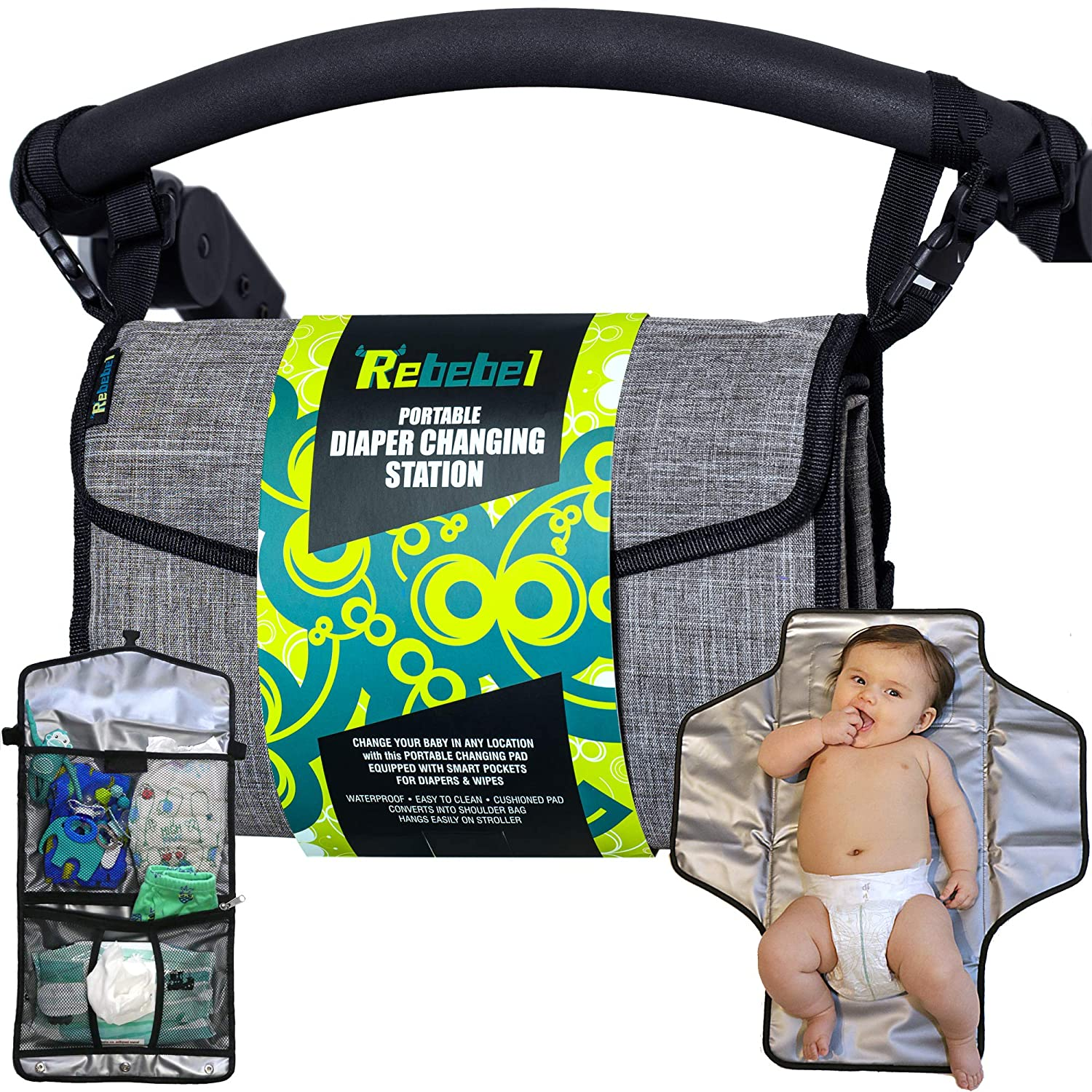 Rebebel - Portable Changing Pad and Diaper Bag, Travel Bag for Baby Essentials, Convertible Straps for Shoulder or for Baby Stroller, Pockets for Baby Stuff
