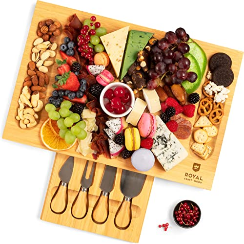 popular Unique Bamboo Cheese high quality Board, Charcuterie Platter & Serving Tray wholesale Including 4 Stainless Steel Knife & Thick Wooden Server - Fancy House Warming Gift & Perfect Choice for Gourmets (Bamboo) online