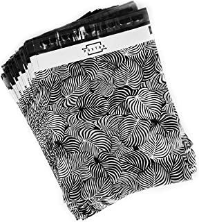 PAXTRA 10x13 100-Pack Palm leaves Boho Designer Poly Mailers Black and White Trendy Shipping Supplies Envelope Mailing Bags Sealed Gifts Boutique Custom Bag Waterproof Packages with Self Adhesive Strip, Water Resistant