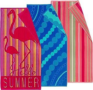 Kaufman - Premium Velour Oversized Double Jacquard Reversible Beach Towel, Pool Towel, Plush, 32in x 62in, Luxurious 100% ...