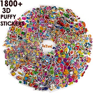 BeYumi 58 Different Sheets Kids (1500+Count), 3D Puffy Stickers, Craft Scr Scrapbooking Including Animals, Cars, Truck