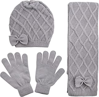 Criss Cross Knit Hat with Bow, Scarf and Glove Set