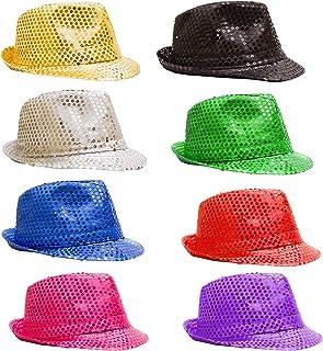 12 Pack - LED Light Up Sequin Fedoras Hats for Men & Women