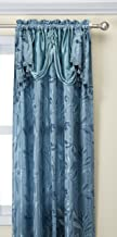 "Elegance Linen Beautiful Design Jacquard Curtain Panels 55"" X 84"" +18 with Attached Valance, Blue"