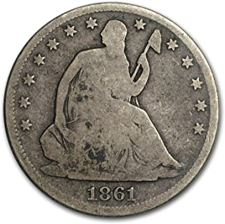 1861 S Liberty Seated Half Dollar Good Dollar Good