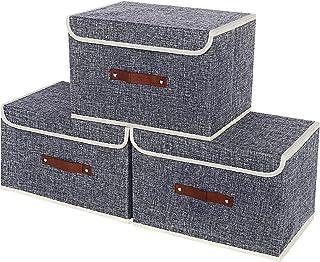 TangDouJM Boîte de Rangement Pliable avec Couvercle, Caisses de Rangement, Panier de Rangement pour Vêtements avec Poignée...