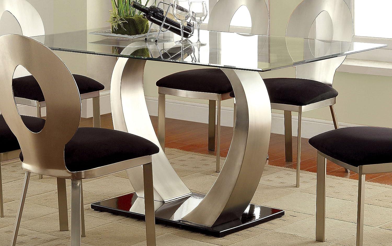 Furniture of America Alvados Rectangular Glass Top Dining Table