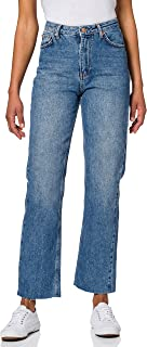 NA-KD Straight High Waist Raw Hem Jeans Femme