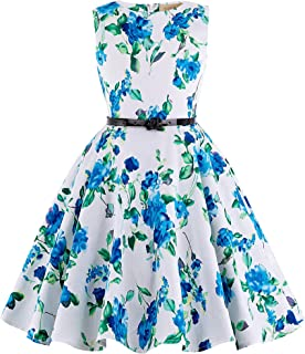 Kate Kasin Girls Sleeveless Vintage Print Swing Party...