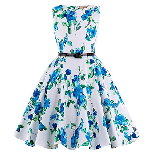 88d50e76875 Kate Kasin Girls Sleeveless Vintage Print Swing Party Dresses 6-15 Years