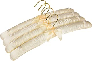 Deluxe Ivory Satin Padded Hangers: 15 Inches with No-Slip Buttons | Set of 4 - Featuring 360 Degree Rotating Rust Proof Hook - for Wardrobe Organization - Dresses, Sweaters, Bridal Wear, Lingerie, Etc