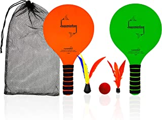 Funsparks Jazzminton Beach – Beach Games for Family and Friends – 2 Paddles, 2 Birdies, 1 Ball and Carry Bag – Wind Birdie Included for Windy Days – Racquet Game for All Ages