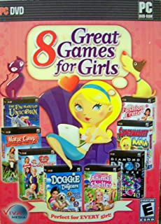 8 Great Games for Girls - The Enchanted Unicorn, Horse Camp, My Dream Job Babysitter, Doggie Daycare, Happy Trails Animal Shelter, Diamond Drop Deluxe, Supermarket Mania & Fashion Craze PC DVD-ROM