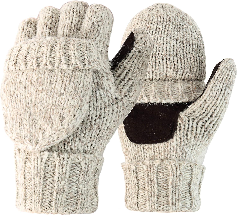 Novawo Unisex Wool Blend Crochet Convertible Fingerless Gloves with Mitten Cover