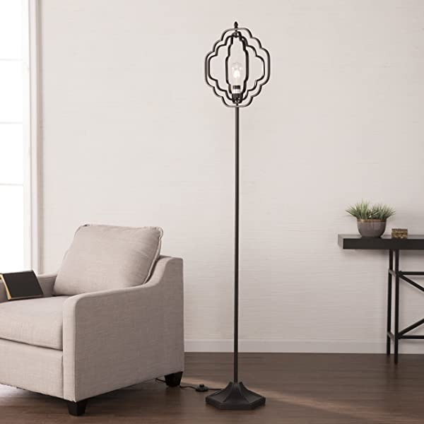 Furniture HotSpot Quatrefoil Floor Lamp Matte Black 15 W X 15 D X 74 H