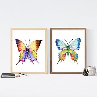 Nacnic Set de Dos láminas Mariposas llenas de Color.Tamaño A3 para enmarcar. Posters con imágenes de Mariposas en Estilo Acuarela