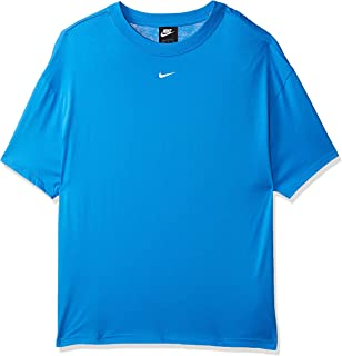 Nike Women's NSW ESSNTL TOP SS BF LBR T-Shirt, Blue(Lt Photo Blue/White435), Large