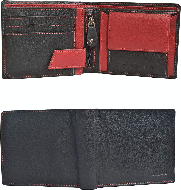 Kubu Genuine Leather Wallets For Men Bifold RFID Blocking With Coin Pocket & Zipper (Jet Black:Vermillion Red)