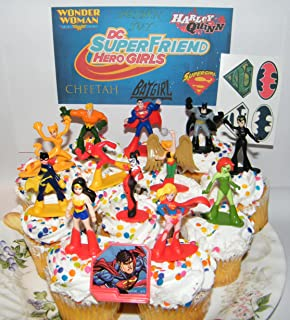 DC Super Friend Hero Girls Deluxe Mini Cake Toppers Cupcake Decorations Set of 14 with Figures, a Sticker Sheet and Toy Ring Featuring Wonder Woman, Supergirl, Batgirl and More!