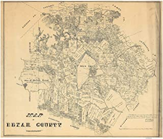 Bexar County, Texas - 1879 - Wall Map with Land Owners names - General Land Office - Old Map Reprint