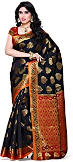 Mimosa Women's Traditional Art Silk Saree Kanjivaram Style With Blouse Color:Black(3313-161-BLK-RD)