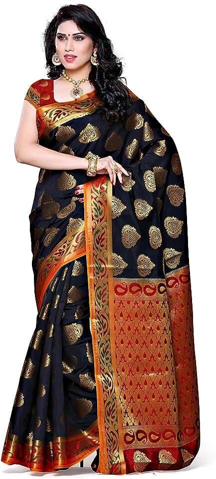 Indian MIMOSA Women's Kanchipuram Silk Saree With Un-stitched Blouse (161-BLK-RD_Black) Saree