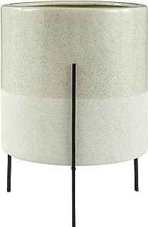 Rivet Mid-Century Ceramic Planter with Iron Stand 18.9