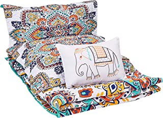 Chic Home 4 Piece Chagit Reversible Boho-Inspired Print and Contemporary Geometric Patterned Technique King Quilt Set Aqua