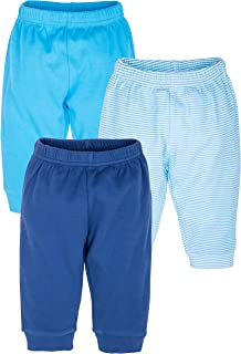 Infant Boys' & Girls' 3 Pack Cotton Pants Set w/Elastic Waist & Tapered Ankle
