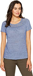 (bluedream, 2xl) - Hanes Women's Short-Sleeve Peasant Tee with Lace