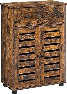 VASAGLE Meuble de rangement avec tiroir, Armoire salle de bain, Placard, Buffet, avec 2 portes persiennes, planche réglabl...
