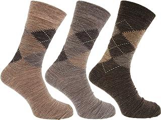 Severyn, calcetines con mezcla de lana de corderos Estampado a rombos tradicional con Lycra (Pack de 3)