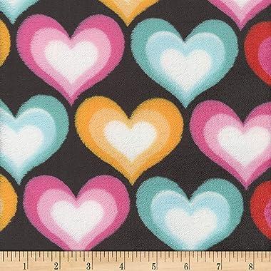 Mook Fabrics Super Soft Velour Fleece Hearts Fabric, Black, Fabric By The Yard
