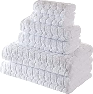 Bagno Milano Jacquard-Woven Towels – Ultra-Absorbent & Fast-Drying Spa Towels – Non-GMO Turkish Cotton Towels – Durable & Plush Luxury Towels – Eco-Friendly Towels (White, 6 pcs Towel Set)