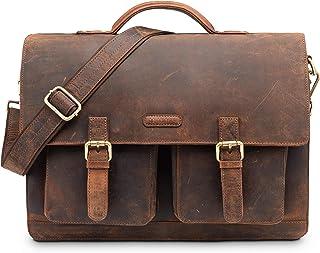 LEABAGS Miami Aktentasche Laptoptasche 15 Zoll Schultertasche aus echtem Leder, LxBxH: ca. 40 x 12 x 31 cm - Rouge