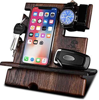 KrollWood Wooden Phone Stand, Docking Station, Desk Organizer, Charging Dock, Tablet Holder, Watch Stand (Natural Solid Oak, Domino)