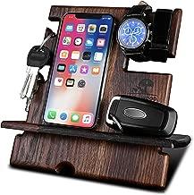 KrollWood Wooden Phone Stand, Docking Station, Desk Organizer, Charging Dock, Tablet Holder, Watch Stand (Natural Solid Oak, Domino)