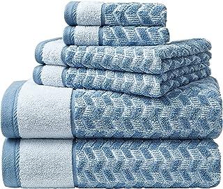Nautica Home 6pc Towel Set 100% Terry Cotton, Oeko-Tex Certified, Super Soft & Absorbant, Medium-Weight, 6 Piece, Zane Che...