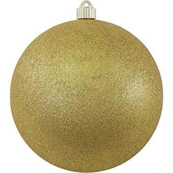 """Christmas by Krebs Large Commercial Shatterproof UV Resistant Plastic Christmas Ball Ornament Wedding Party Event Decor, 6"""" (150mm), Gold Glitter"""