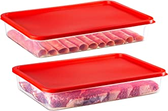 2 Pack – Zilpoo Bacon Keeper, Deli Meat Cold Cuts Cheese Food Storage Container with Lid for Refrigerator, Low Profile Cookie Holder, 84 oz.