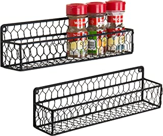 MyGift Set of 2 Black Chicken Wire Wall-Mounted 12-inch Spice Racks
