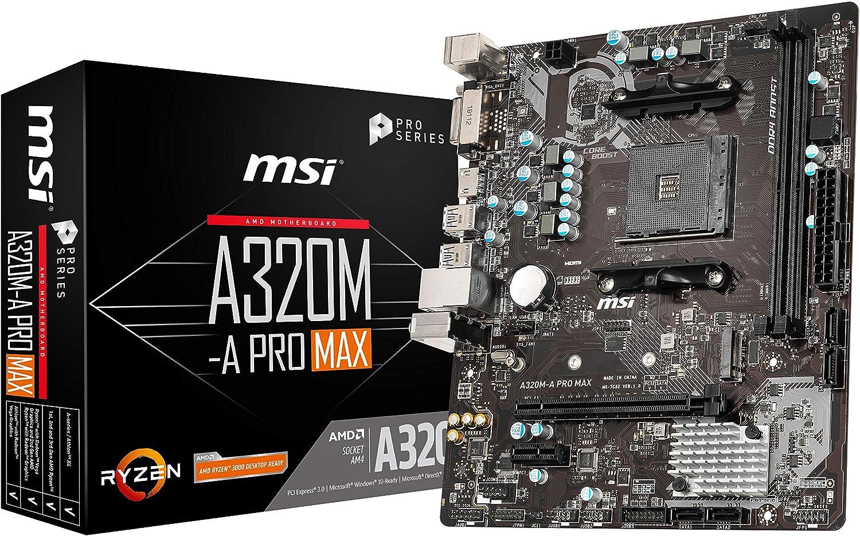 MSI ProSeries AMD A320 1ª, 2ª y 3ª generación Ryzen compatible con AM4 DDR4 HDMI DVI M.2 USB 3 Micro-ATX placa base (A320M-A PRO MAX)