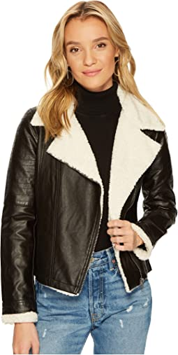 Jack by BB Dakota - Lovella Washed Vegan Leather Sherpa Trimmed Jacket