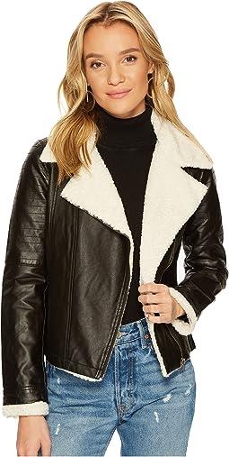 Jack by BB Dakota - Lovella Washed Vegan Leather Sherpa Trimmed Jacket