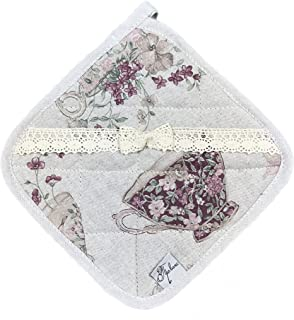Provence Cotton Square Potholder with Cotton Lace in French Country Style, 8'' x 8'', Purple Cups