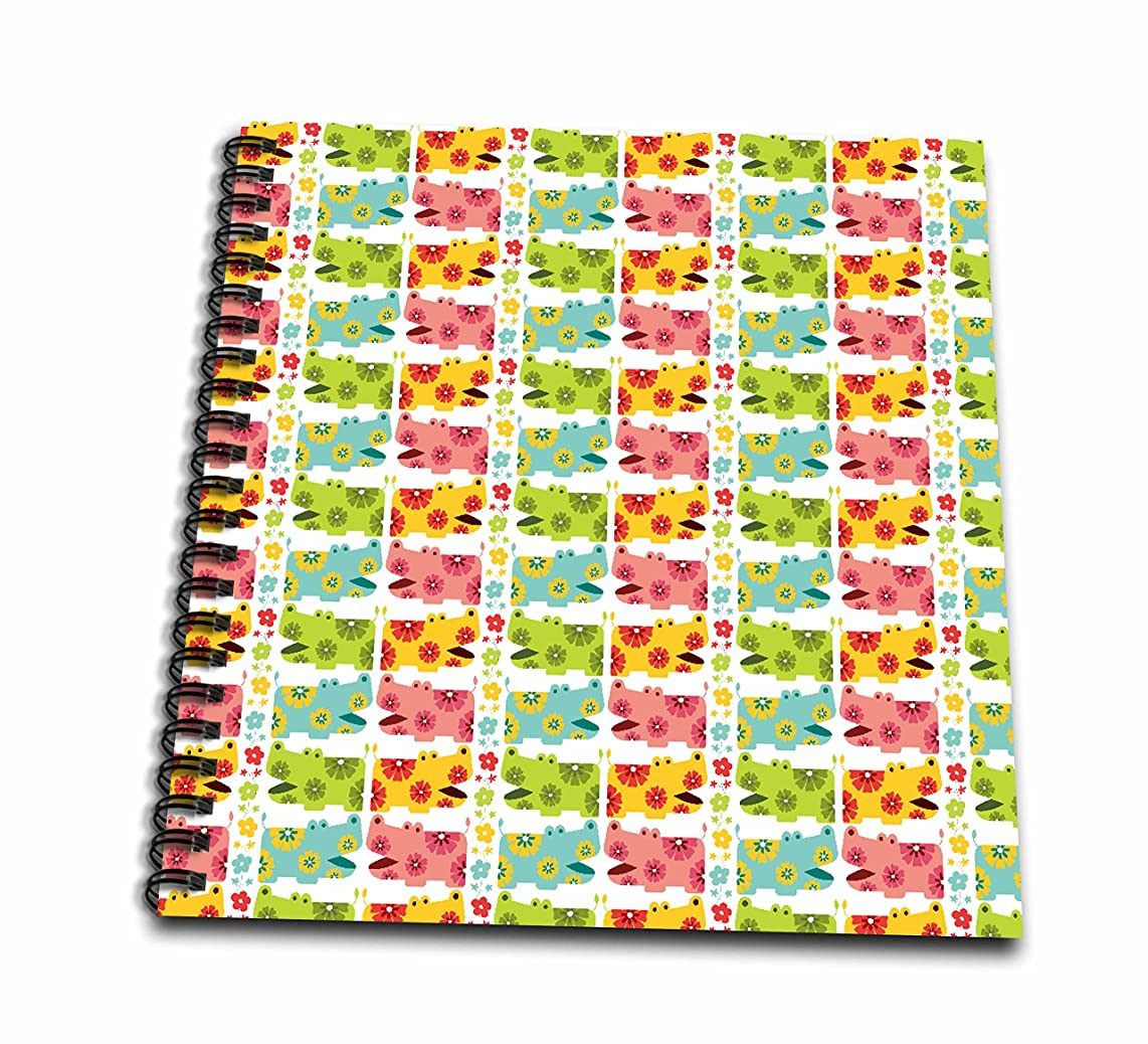 3dRose db_113395_1 Cute Colorful Flower Hippos Hippopatamus Animal Pattern Design-Drawing Book, 8 by 8-Inch