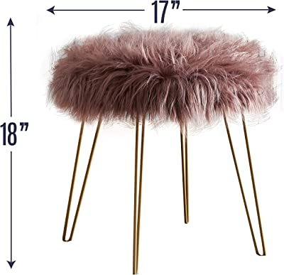 """Ornavo Home Modern Contemporary Faux Fur Round Ottoman Foot Rest Stool/Seat with Gold Metal Legs - 17"""" L x 17"""" W x 18"""" H (Blush)"""