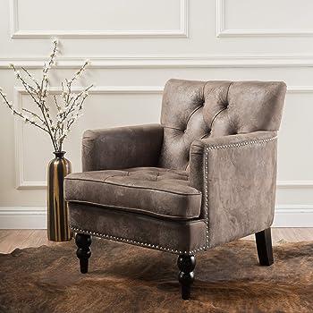 Christopher Knight Home Malone Microfiber Club Chair, Greyish Brown